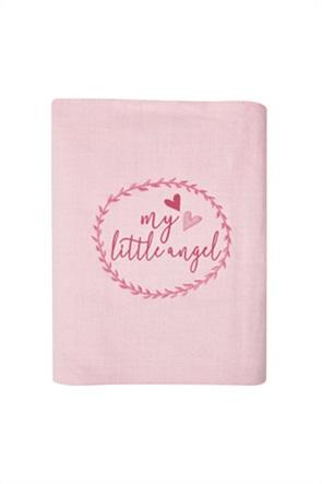 """Kentia βρεφική κουβέρτα αγκαλιάς με κέντημα """"Angel"""" 80 x 100 cm"""