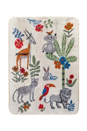 "Kentia παιδική κουβέρτα μονή με all-over print ""Animal"" 160 x 220 cm"
