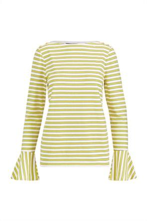 Lauren Ralph Lauren γυναικεία ριγέ μπλούζα με βολάν στο μανίκι