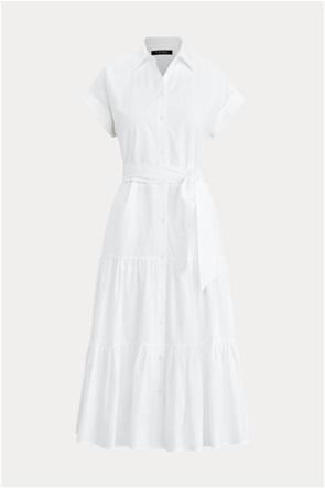 Lauren Ralph Lauren γυναικείο midi φόρεμα σεμιζιέ με βολάν