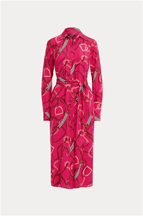 Lauren Ralph Lauren γυναικείο μεταξωτό φόρεμα σεμιζιέ με ζώνη και all-over print