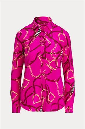 Lauren Ralph Lauren γυναικείο μεταξωτό πουκάμισο με chain print