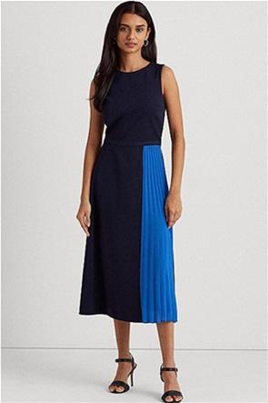 Lauren Ralph Lauren γυναικείο midi φόρεμα colourblocked με πλισέ λεπτομέρεια