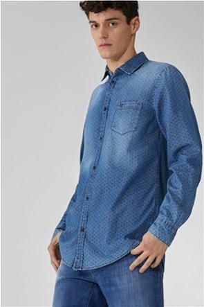 Trussardi ανδρικό denim πουκάμισο με μικρόσχεδιο