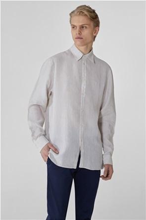 Trussardi ανδρικό λινό πουκάμισο μονόχρωμο