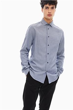 Trussardi Jeans ανδρικό πουκάμισο μονόχρωμο Slim Fit