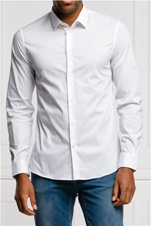 Trussardi ανδρικό πουκάμισο μονόχρωμο Slim Fit