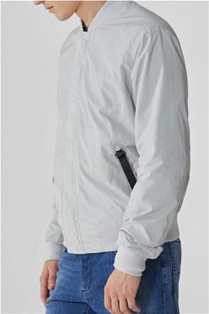 Trussardi ανδρικό bomber jacket με ton-sur-ton logo print