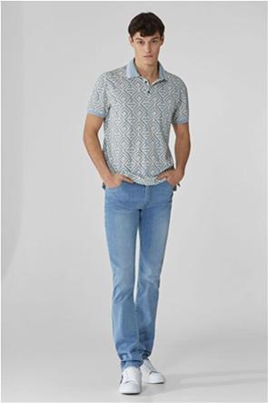Trussardi Jeans ανδρική πόλο μπλούζα με γεωμετρικό σχέδιο