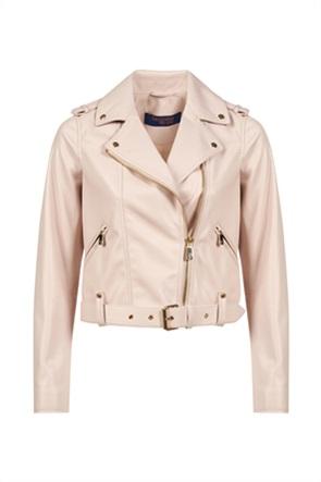 Trussardi γυναικείο biker jacket με μεταλλικές λεπτομέρειες και ζώνη