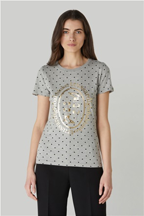 Trussardi Jeans γυναικείο T-shirt πουά με μεταλλιζέ logo print