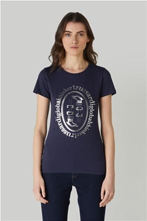 Trussardi Jeans γυναικείο T-shirt με μεταλλιζέ logo print