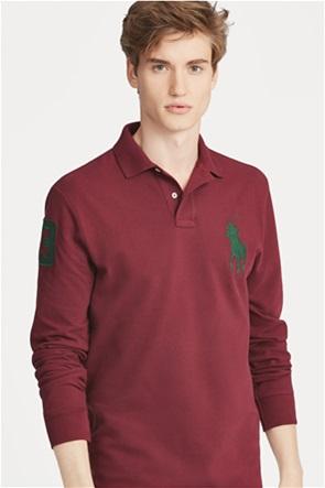 Polo Ralph Lauren ανδρική μπλούζα μπορντό Custom Slim Fit Mesh Polo