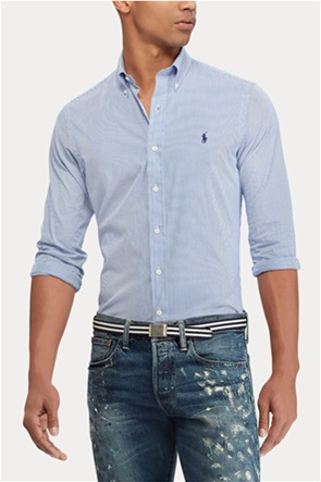 Polo Ralph Lauren ανδρικό πουκάμισο με ριγέ σχέδιο και κεντημένο λογότυπο ''Slim Fit Striped''