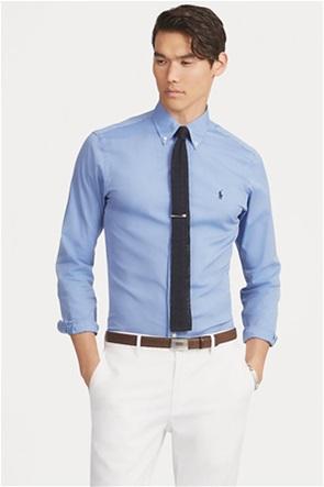 Polo Ralph Lauren ανδρικό πουκάμισο μονόχρωμο με κεντημένο λογότυπο ''Slim Fit''