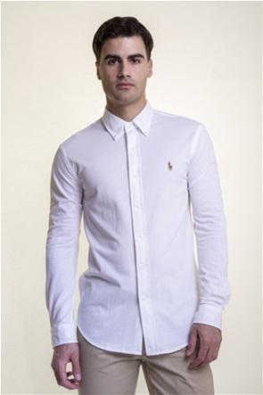 "Polo Ralph Lauren ανδρικό πουκάμισο με πολύχρωμο κεντημένο λογότυπο ""Knit Oxford"""