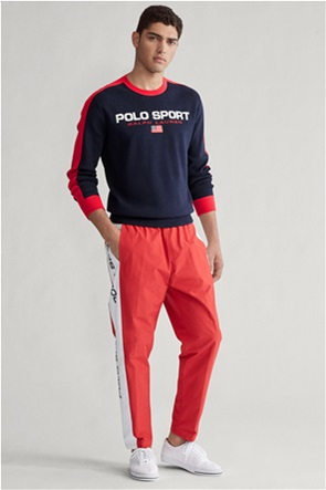 Polo Ralph Lauren ανδρική πλεκτή μπλούζα με logo και σημαία USA