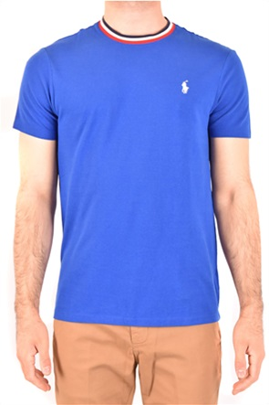 Polo Ralph Lauren ανδρικό T-shirt με κεντημένο λογότυπο και ριγέ λεπτομέρειες