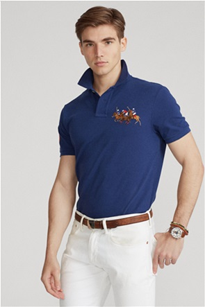 "Polo Ralph Lauren ανδρική μπλούζα πόλο ""Custom Slim Fit Triple-Pony"""