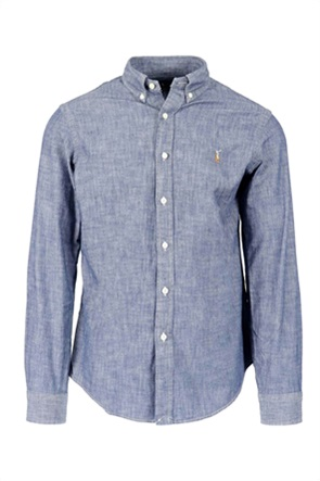 Polo Ralph Lauren ανδρικό πουκάμισο με denim όψη και κεντημένο λογότυπο
