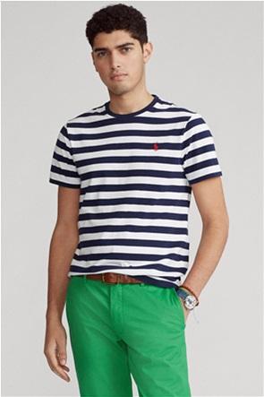 Polo Ralph Lauren ανδρικό T-shirt με ριγέ σχέδιο και κεντημένο λογότυπο ''Custom Slim Fit''