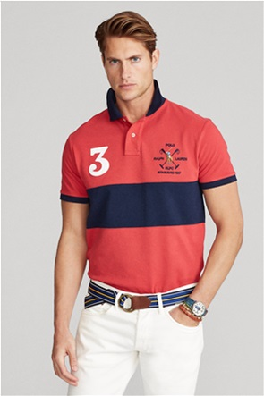 "Polo Ralph Lauren ανδρική πόλο μπλούζα colourblocked με κεντημένο λογότυπο ""Custom Slim Fit Mesh"""