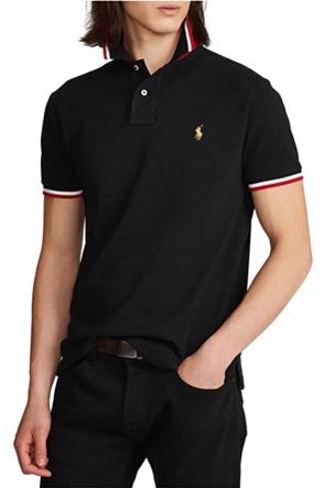 Polo Ralph Lauren ανδρική πόλο μπλούζα με κεντημένο λογότυπο και ριγέ λεπτομέρειες ''Custom Slim Fit''