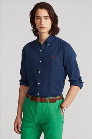 "Polo Ralph Lauren ανδρικό λινό πουκάμισο με κεντημένο λογότυπο ""Slim Fit"""
