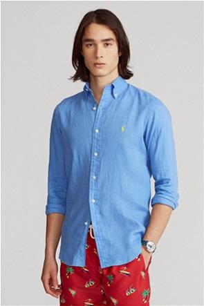 "Polo Ralph Lauren ανδρικό λινό πουκάμισο με κεντημένο λογότυπο ""Custom Fit"""