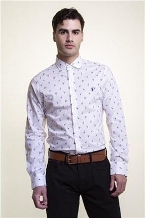 Polo Ralph Lauren ανδρικό πουκάμισο με all-over flamingo print και κεντημένο λογότυπο ''Slim Fit''