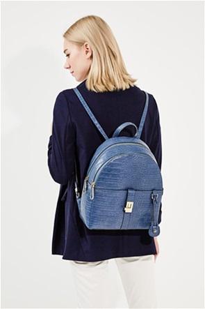 Trussardi γυναικείο backpack με all-over croco σχέδιο και μεταλλικές λεπτομέρειες