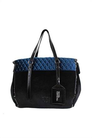 Trussardi γυναικεία τσάντα με βελούδινη όψη