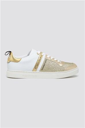 Trussardi Jeans γυναικεία δερμάτινα sneakers με glitter