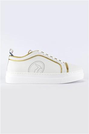 Trussardi γυναικεία sneakers με διάτρητο logo και μεταλλιζέ λεπτομέρειες