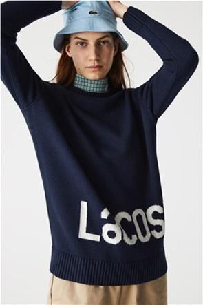 Lacoste γυναικεία πλεκτή μπλούζα με oversized lettering logo
