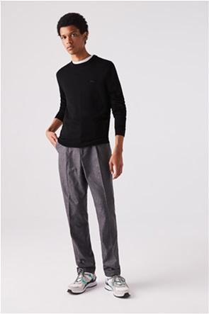 Lacoste ανδρική πλεκτή μπλούζα μονόχρωμη με κεντημένο λογότυπο