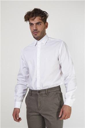 The Bostonians ανδρικό πουκάμισο μονόχρωμο με κεντημένο λογότυπο (sizes 48-50)