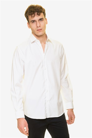 The Bostonians ανδρικό πουκάμισο μονόχρωμο με κεντημένο logo