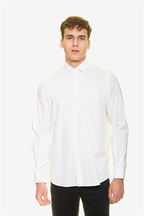 The Bostonians ανδρικό πουκάμισο μονόχρωμο με κεντημένο λογότυπο