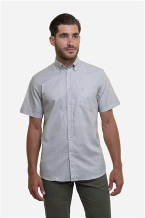 The Bostonians ανδρικό κοντομάνικο πουκάμισο με καρό μικροσχέδιο και κεντημένο logo