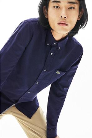 Lacoste  ανδρικό πουκάμισο μονόχρωμο με τσέπη με logo