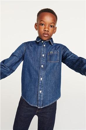 Lacoste παιδικό πουκάμισο denim με κεντημένο λογότυπο
