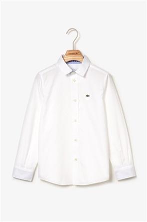 Lacoste παιδικό πουκάμισο μονόχρωμο