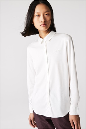 Lacoste γυναικείο πουκάμισο μονόχρωμο Loose Fit