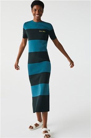 Lacoste γυναικείο midi φόρεμα πλεκτό ριγέ