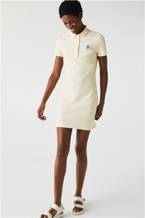 Lacoste γυναικείο mini φόρεμα πικέ με logo patch