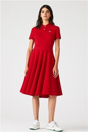 Lacoste γυναικείο midi φόρεμα flared με κεντημένο λογότυπο