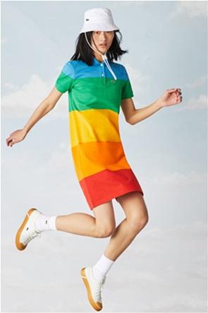 Lacoste γυναικείο mini φόρεμα πόλο ριγέ ''Lacoste x Polaroid''
