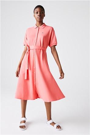 "Lacoste γυναικείo midi φόρεμα σεμιζιέ ""Cotton Piqué Belted Polo"""