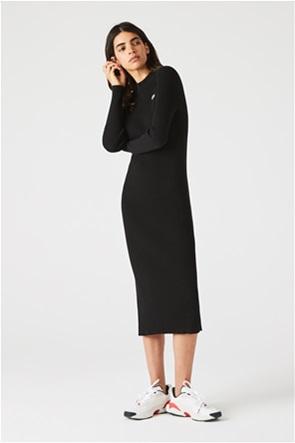 Lacoste γυναικείο midi φόρεμα ribbed με κεντημένο λογότυπο